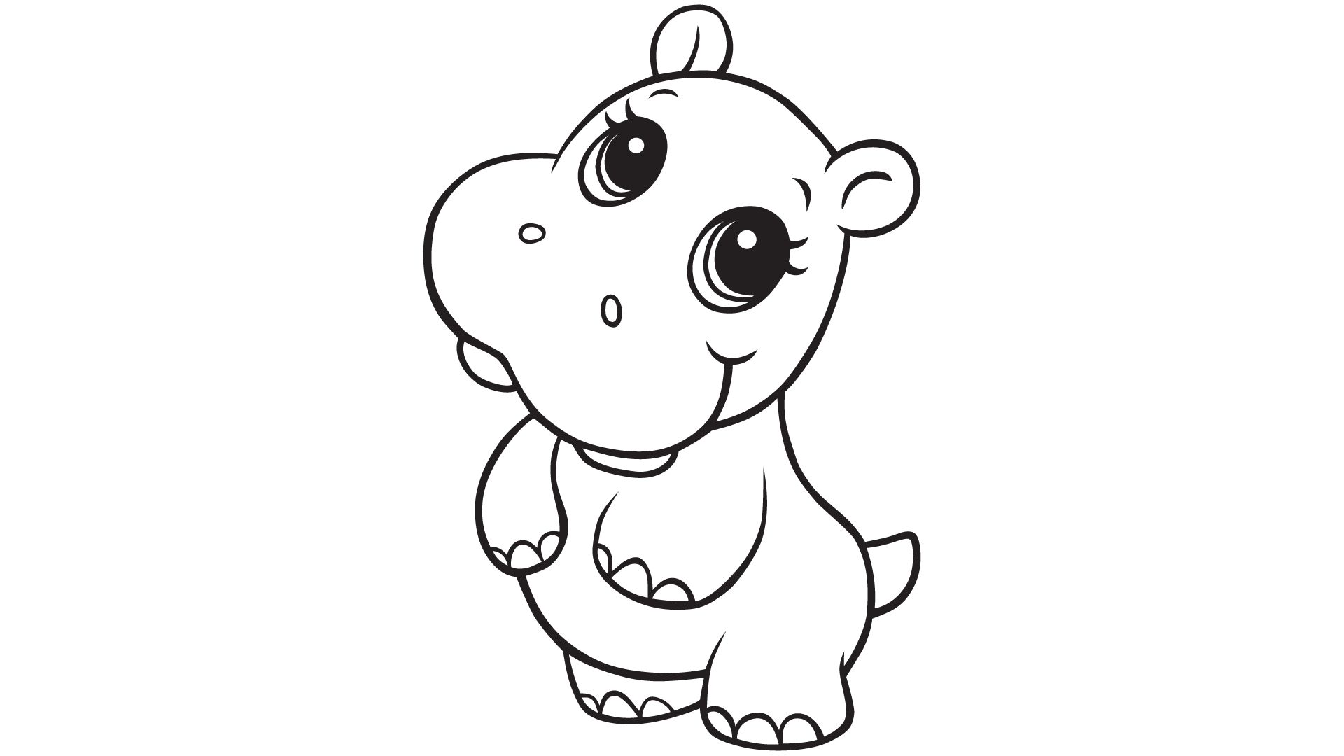 Baby Hippo Coloring Pages
