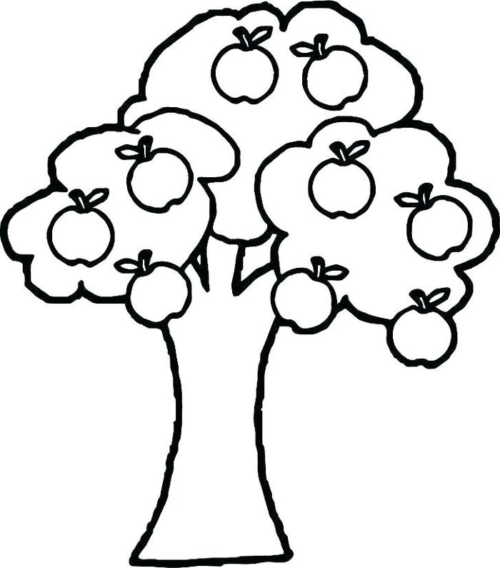 Apple Tree Simple Coloring Pages For Kids