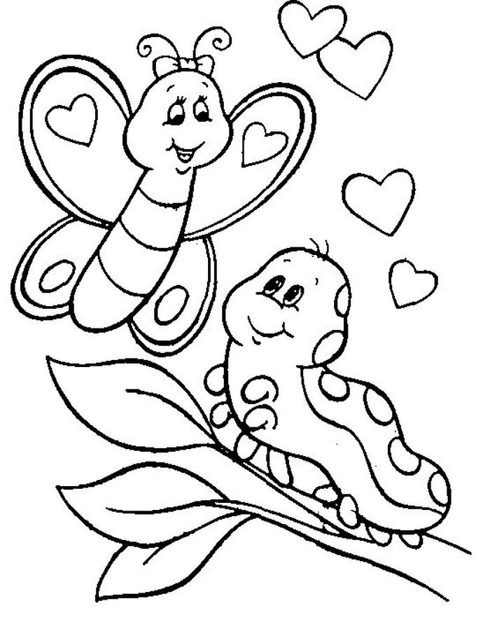 Caterpillar To Butterfly Life Cycle Coloring Pages
