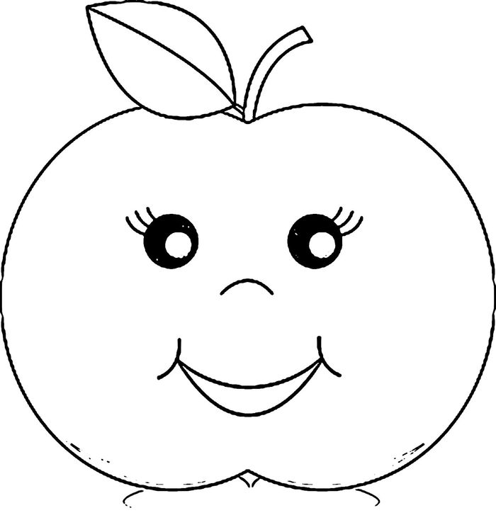 Cute Apple Coloring Pages