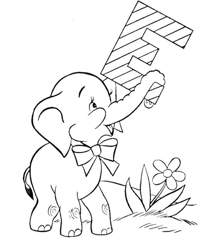 E Is For Elephant Coloring Pages