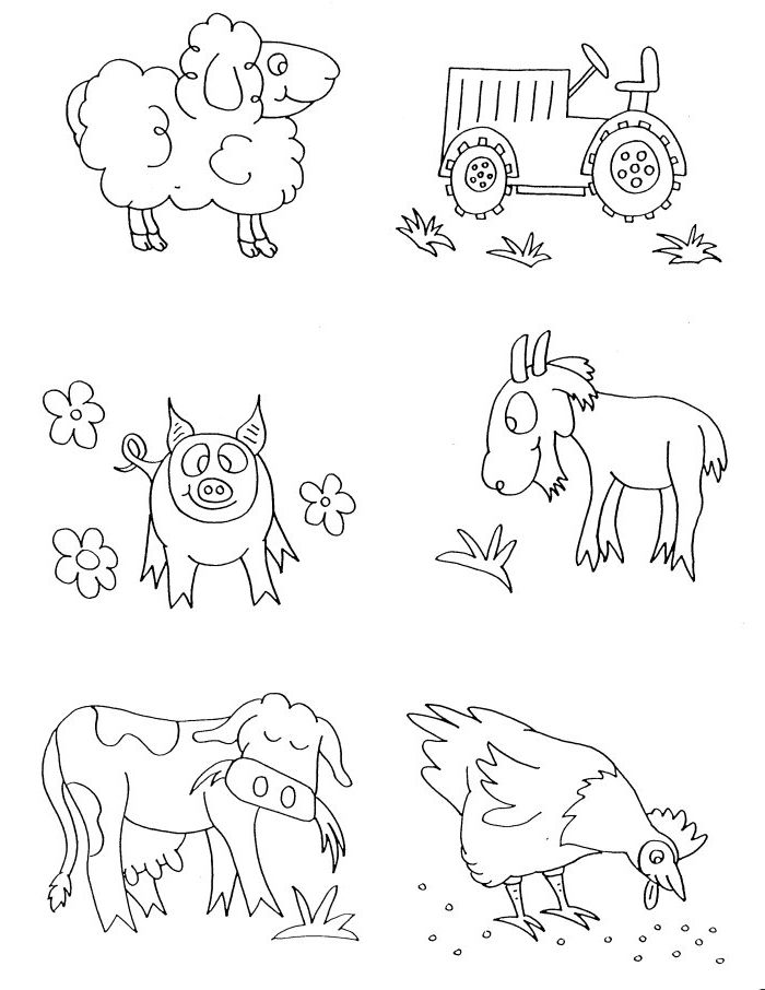Farm Animal Faces Coloring Pages