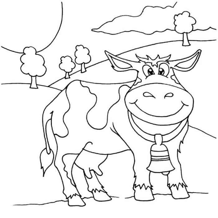 Kids Christmas Cow Coloring Pages Free Printable