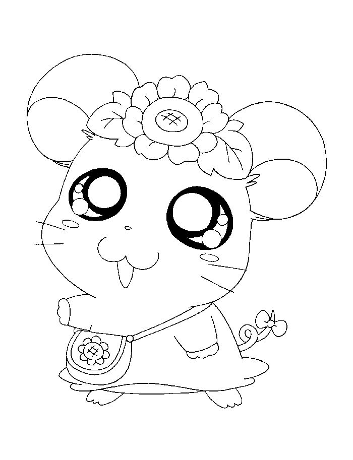 Little Cute Hamster Coloring Pages