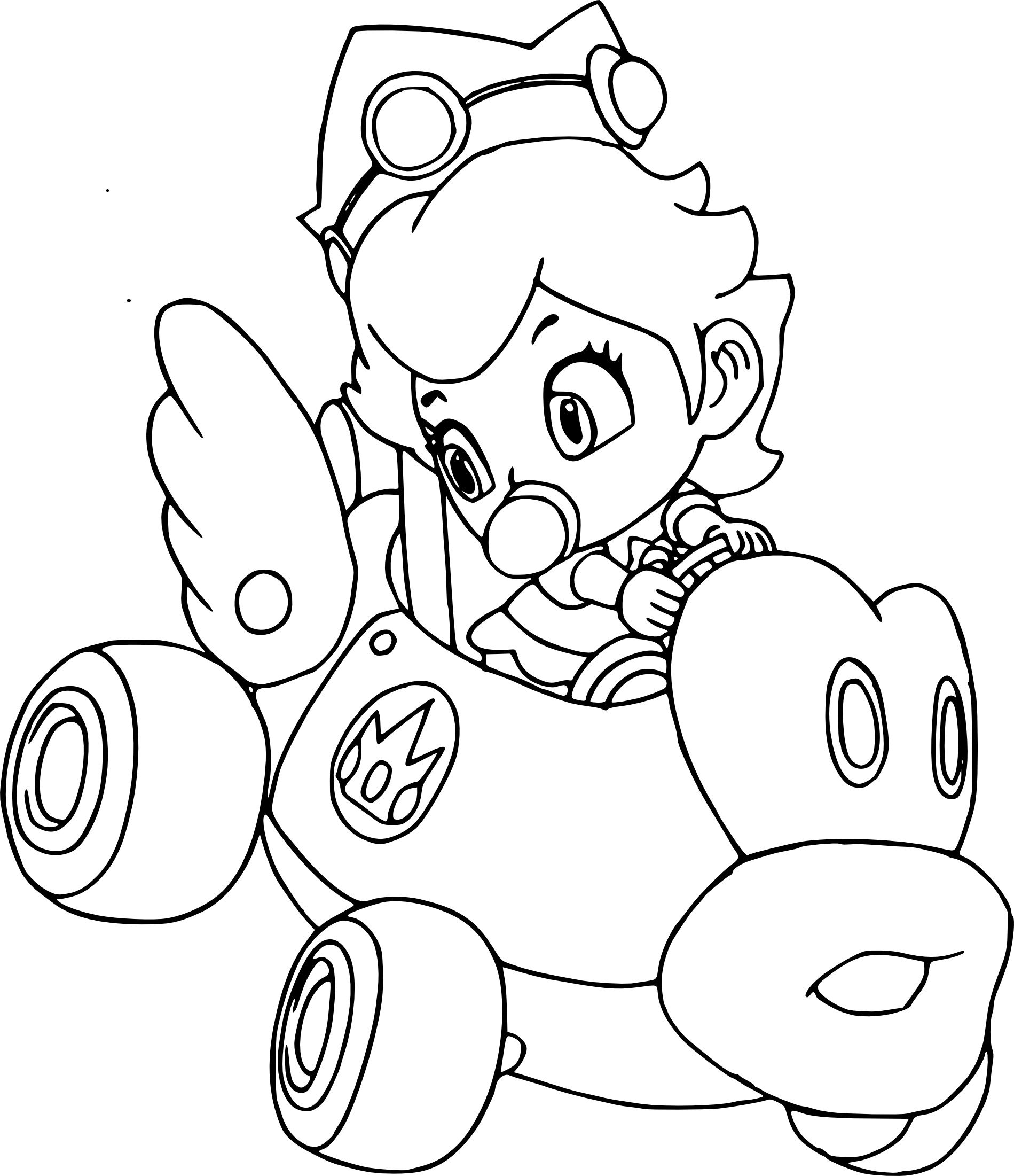 Mario Kart Peach Coloring Pages