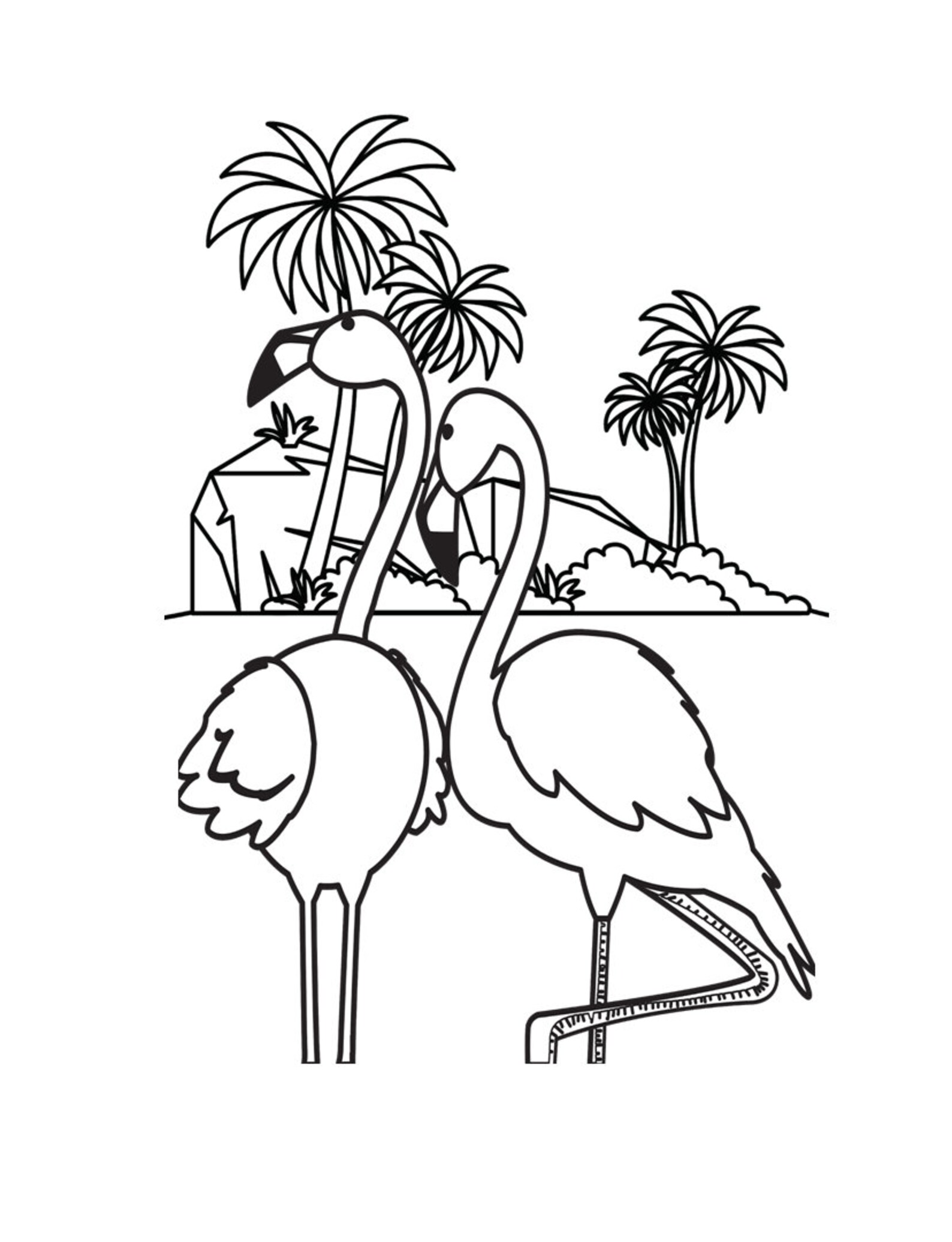 Pink Flamingo Coloring Pages