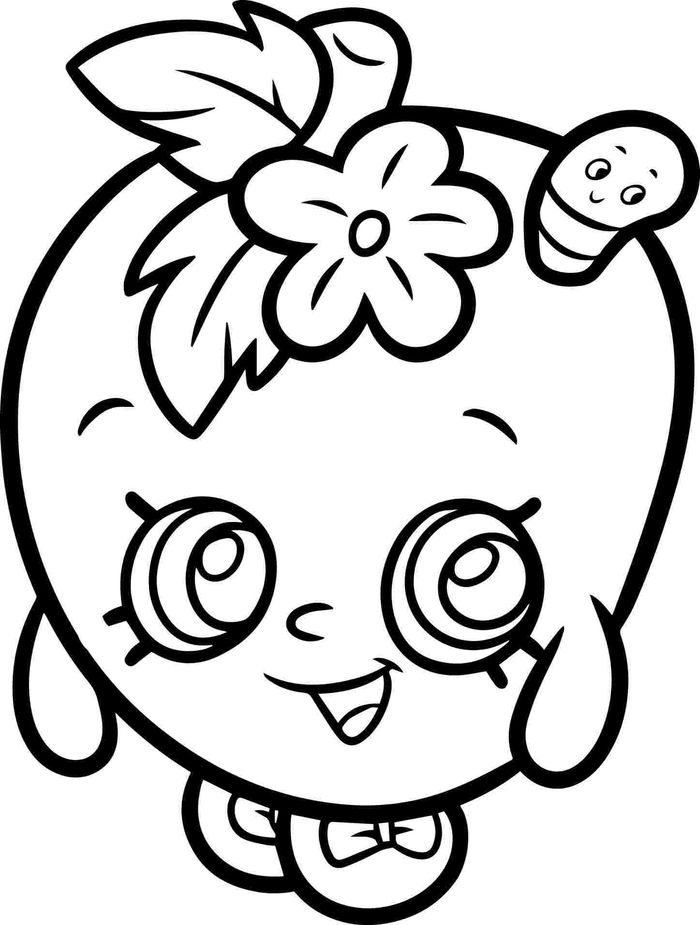 Shopkins And Apple Coloring Pages