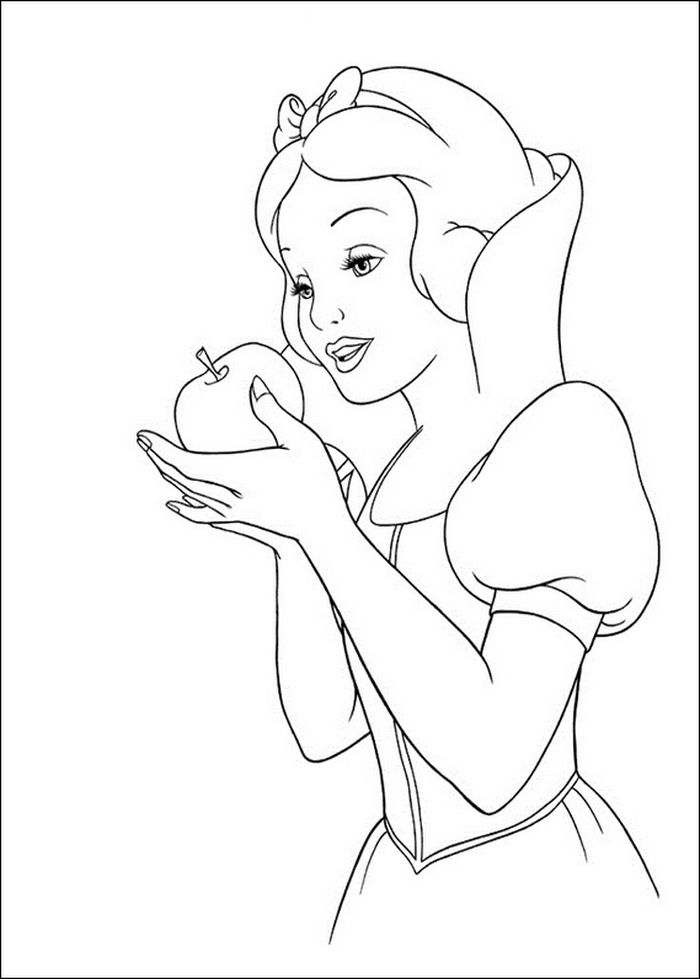 Snow White Holding The Apple Coloring Pages