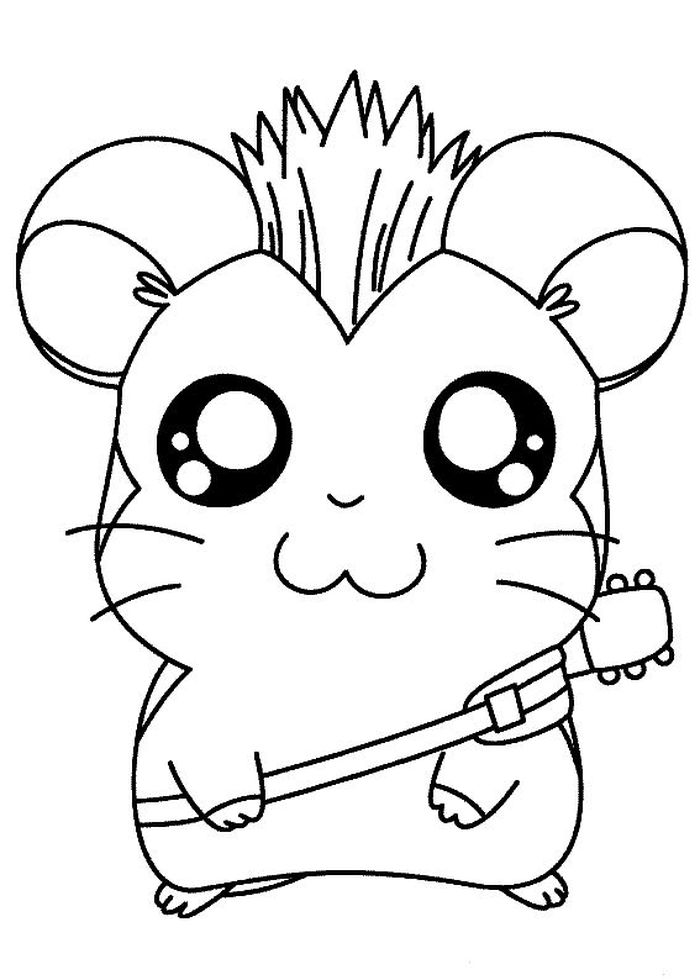 Super Cute Animal Coloring Pages Hamster Rockstar