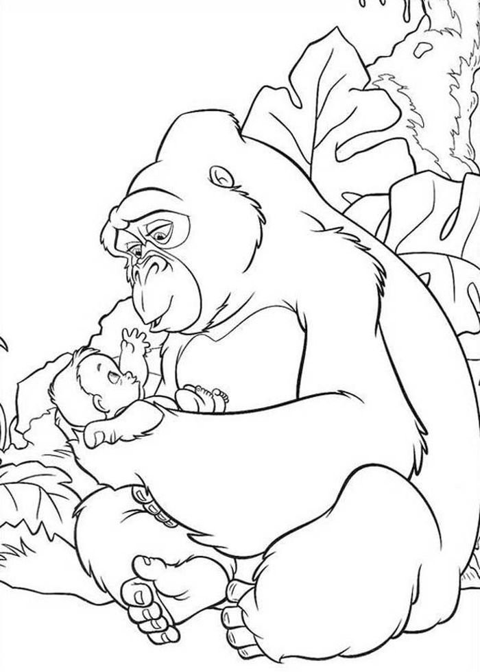 Gorilla With Baby Coloring Pages
