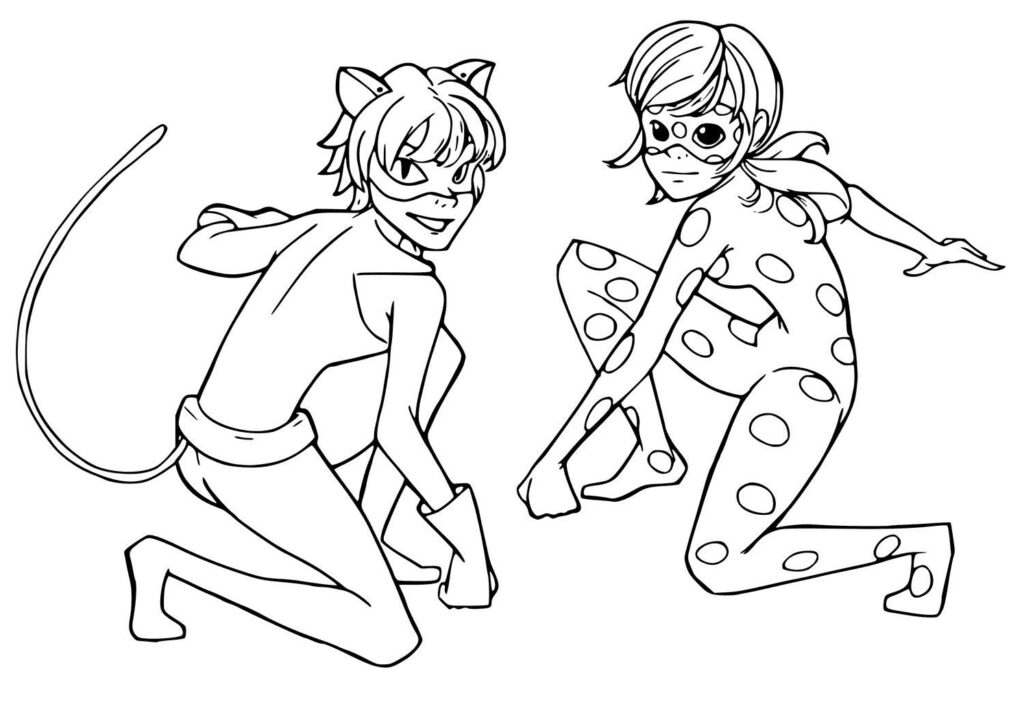 miraculous ladybug and cat noir coloring pages online