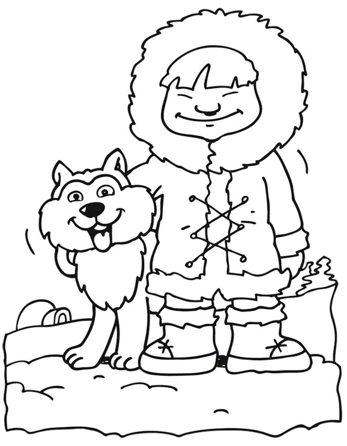 Christmas Coloring Pages Husky
