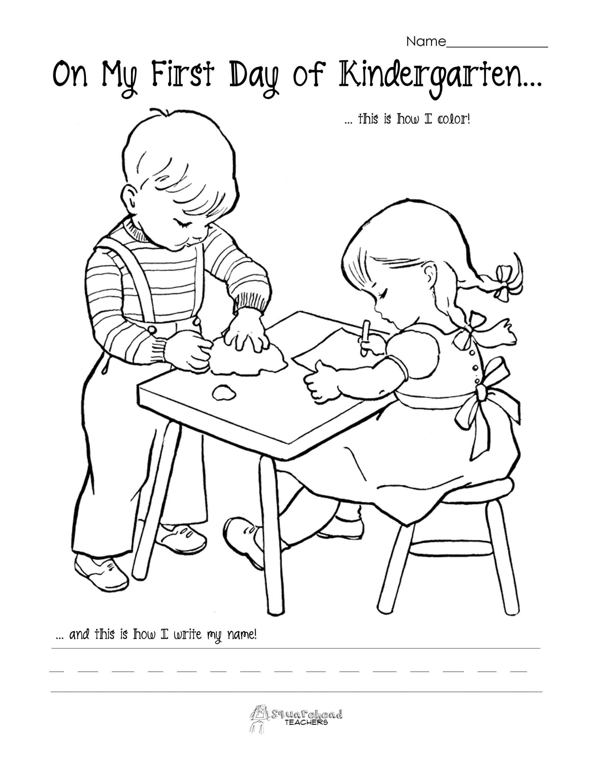 Free Preschool First Day Of School Coloring Pages