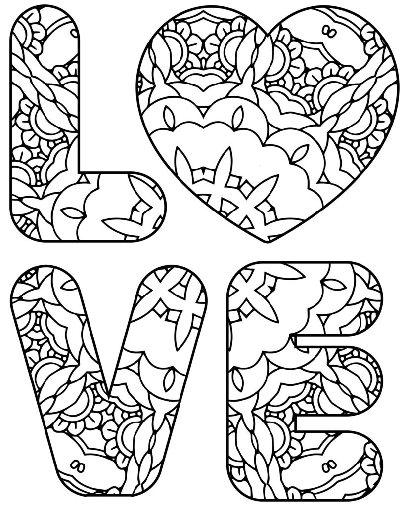 Love Coloring Pages To Print
